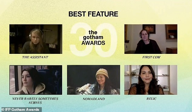 Best Feature:Shannon presented the Best Feature award to Nomadland, which was accepted by writer-director Chloe Zhao