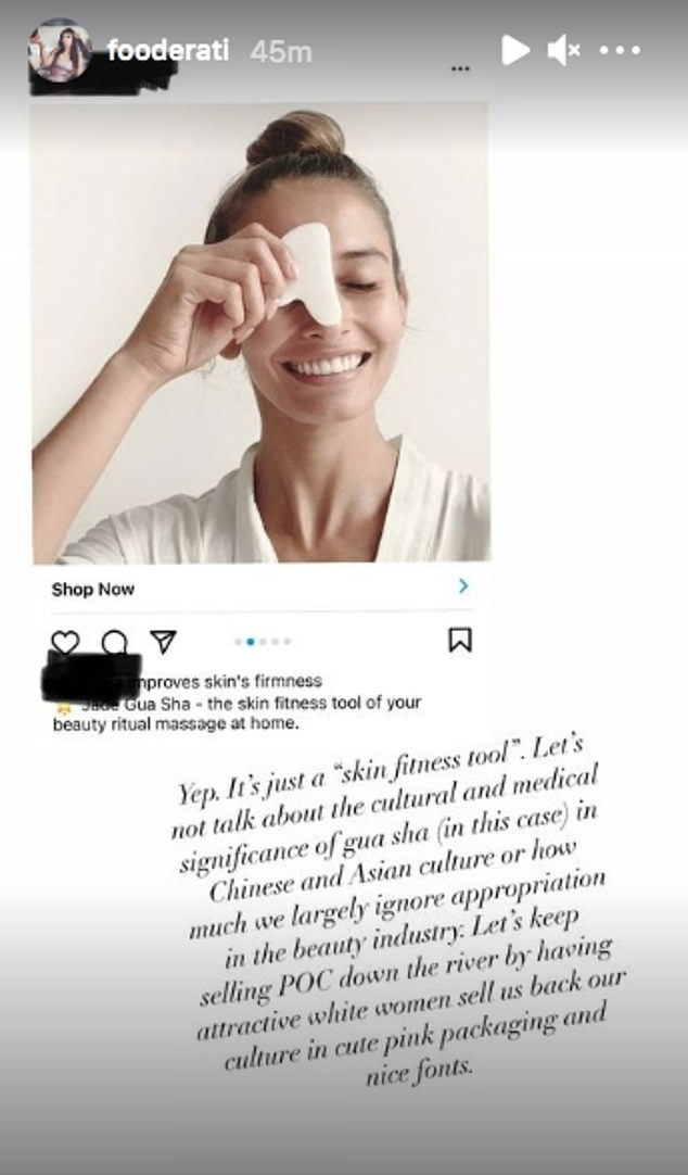 Furious:Melissa is an outspoken advocate for diversity within the fashion and beauty industry, having recently accused a company of 'whitewashing' a traditional Chinese skincare tool called gua sha