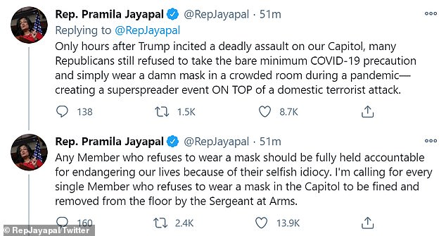 Jayapal, who represents Washington's 7th Congressional District, revealed his diagnosis in a tweet Monday evening, accusing his political opponents of being infected.