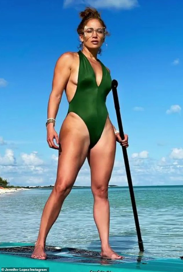 Beach body: On Monday, Jen posted a swimsuit photo from her Turks & Caicos getaway to her Instagram. In the pic, she showed off her gym-honed physique as she posed on a paddleboard