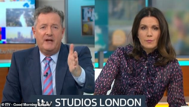 Piers, 55, (left) argued there's 'nothing to celebrate about being obese in the middle of a pandemic', while Susanna Reid (right) argued the cover was 'accepting' different body shapes