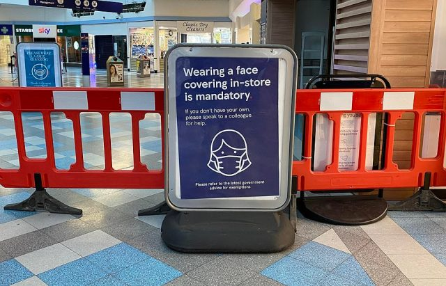 Tesco has signs outside many of its stores insisting shoppers must wear a face covering, although they can ask staff for one if they have lost theirs