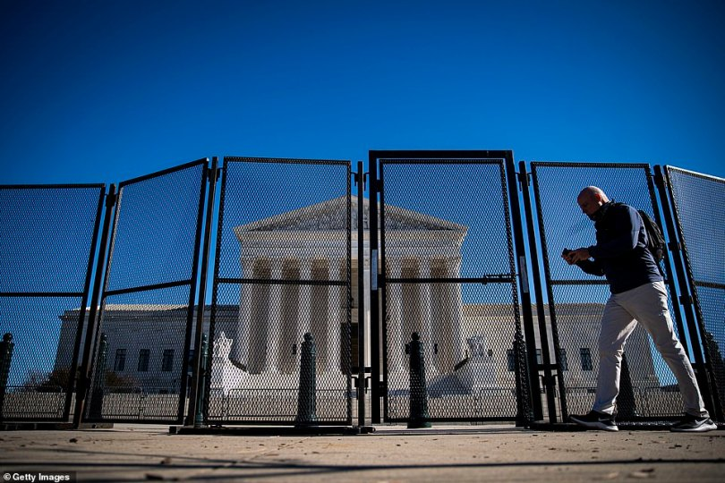 A protective fence is seen outside the US Supreme Court on Sunday as officials prepare for violence around Inauguration Day