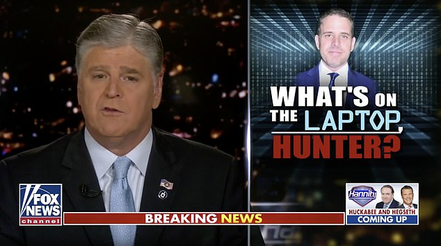 Sean Hannity last night warned that the salacious contents of Hunter Biden's laptop will 'shock the soul of this nation' and devastate the President-elect's family