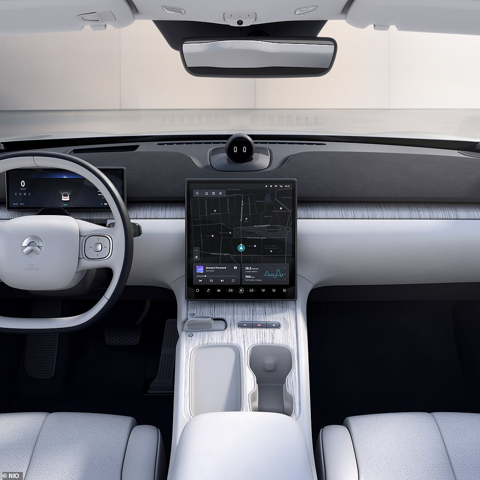 The interior uses a'Karuun' renewable rattan for some of the furnishings, is dominated up front by a high-definition 12.8-inch display and will feature Nio's 'Nomi' AI assistant
