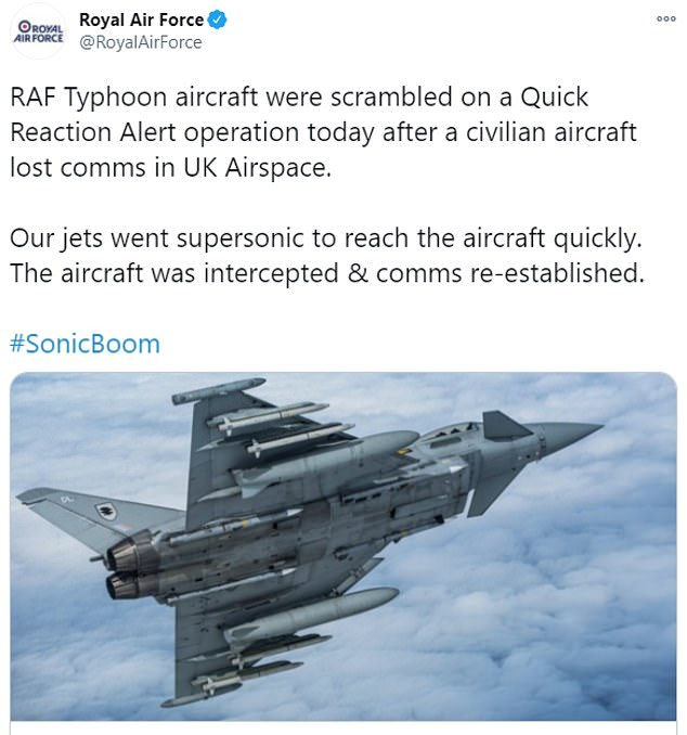 The the RAF Typhoon Quick Reaction Alert jets were launched from RAF Coningsby in Linconlnshire