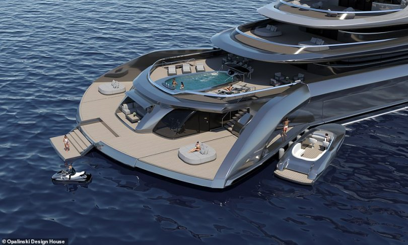Megayacht conceptIndah has a patented fold-out beach club (pictured), additional deck space that comes courtesy of transom bulkheads that can rotate outwards