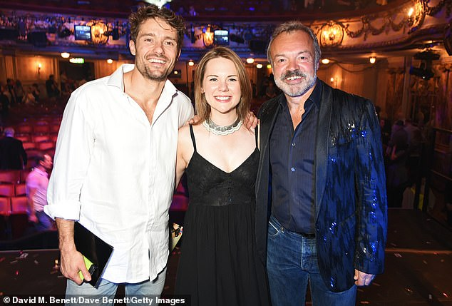 Amazing:More recently, Ben has appeared in several musical and theatre productions, which included The Rocky Horror Picture Show alongside Diana Vickers (pictured withGina andGraham Norton in 2016)