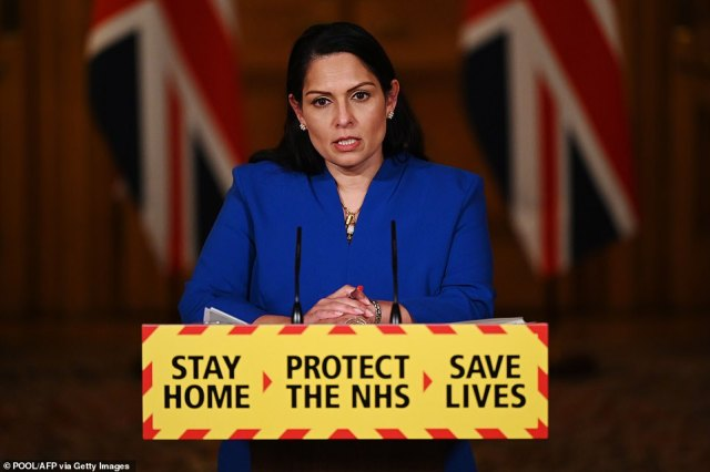 Priti Patel used yesterday's TV conference, during which she was flanked by the chair of the National Police Chiefs' Council, Martin Hewitt, to plead with people to follow the rules