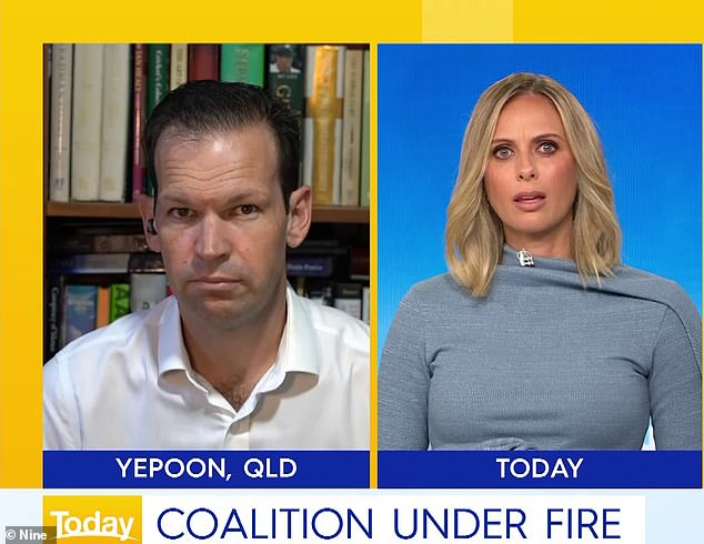 Today Show host Sylvia Jeffreys (right) clashed with federal senator Matt Canavan (right) on Tuesday morning as he defended the acting prime minister
