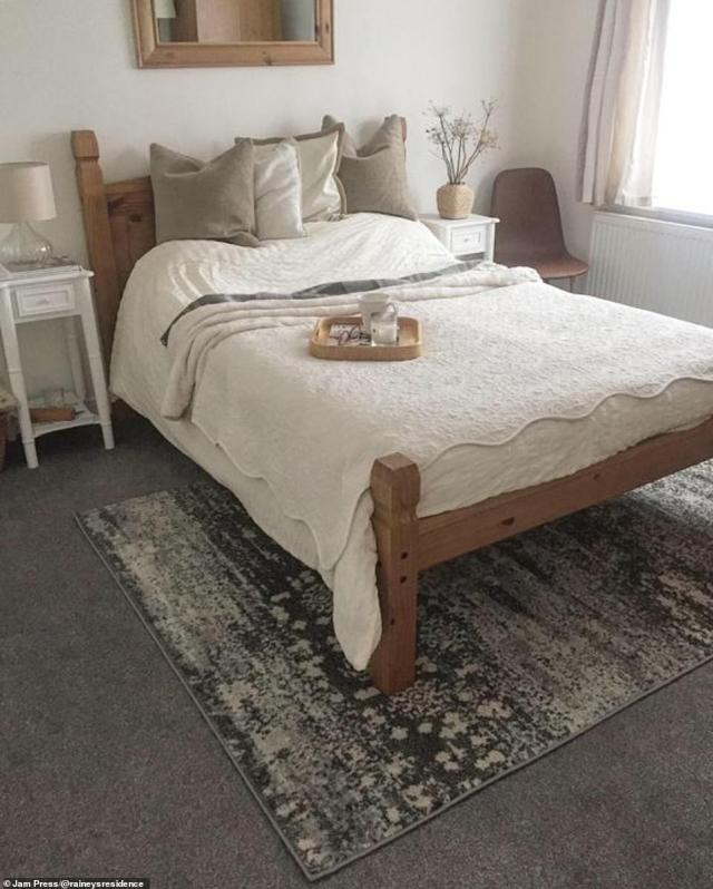 It was then transformed into another stylish room complete with white bed linen and brown furnishings