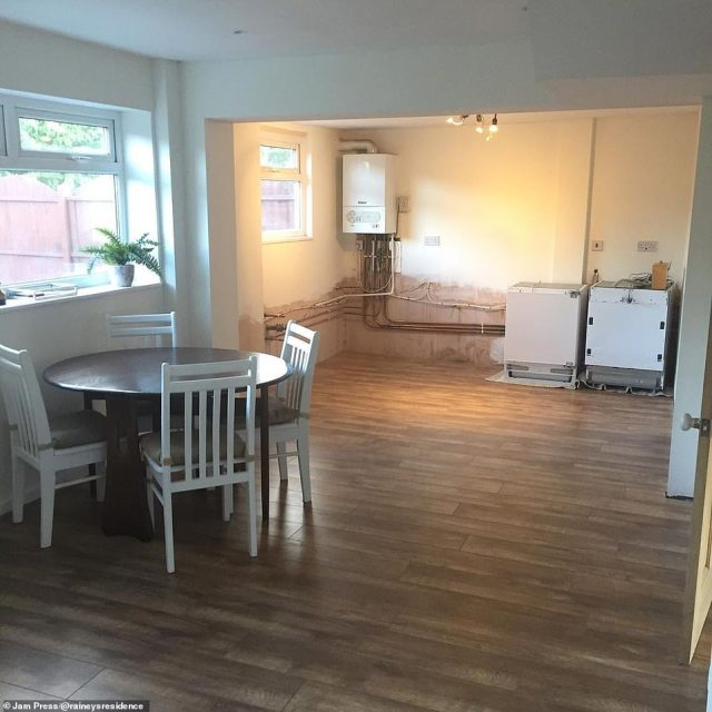 The kitchen and dining area is pictured during the renovation last year - and the savvy homeowner has told how she is delighted with the finished results