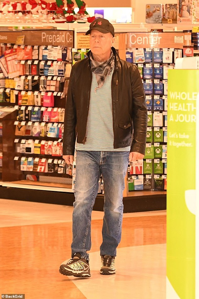 Caught out:Bruce Willis 'asked to leave store for REFUSING to wear face mask' as he is pictured completely ignoring strict coronavirus guidelines in LA on Monday