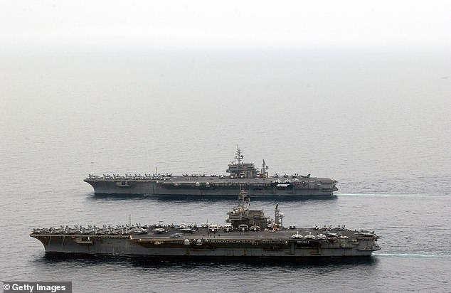 He enlisted out of Arizona as a supply clerk on September 26, 2005.He completed recruit training and Military Occupational Specialty school and was assigned to the USS Kitty Hawk in March 2006. A file image of the USS Kitty Hawk and USS Constellation at sail in the Arabian Gulf in April 2003 above