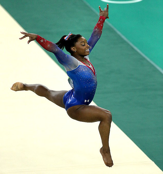 Making bank: Simone, who is the most decorated gymnast in World Championship history, has an estimated net worth of $6 million from endorsement deals