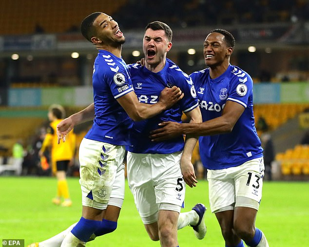 Michael Keane (centre) scored as Everton overcame Wolves to move into the top four