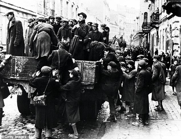 The Warsaw Ghetto was the scene of shocking misery in WWII. Above,Jewish men are transported from the Warsaw Ghetto by Nazi soldiers in 1941