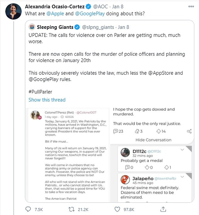 On January 8 AOC demanded Apple and Google hold Parler accountable for allowing messages including hate speech and inciting violence to be posted on the app even after the January 6 riot at the Capitol