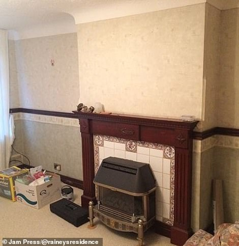 The living room fireplace is perhaps the most impressive transformation, which started out featuring a dated black grate with a mahogany mantelpiece and cream patterned tiles (pictured)