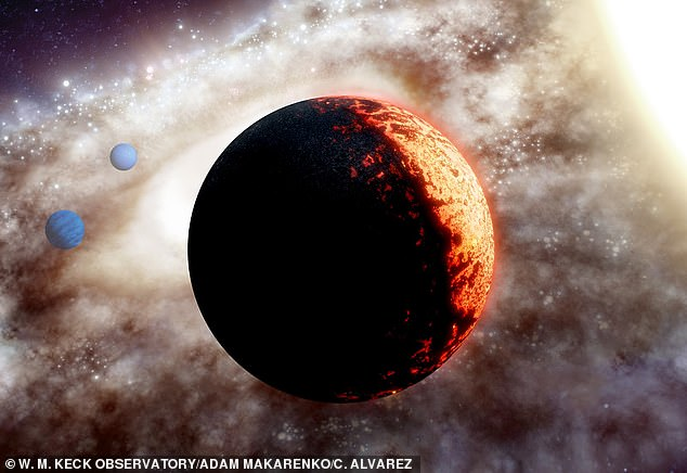 The planet, called TOI-561b, is about 50 per cent larger than Earth, but requires less than half a day to orbit its star (artist's impression)