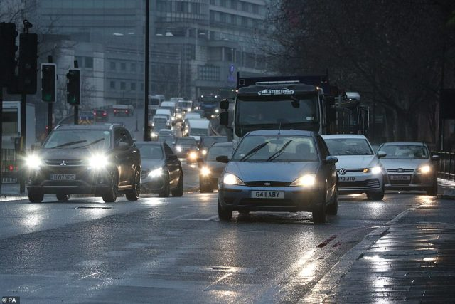 Morning traffic coming into London over the Marylebone flyover during England's third national lockdown today. London saw its congestion levels drop seven per cent in 2020 from 2019