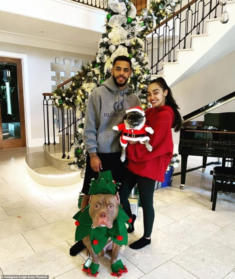 Cute couple: The pair are seen posing at their home at Christmas time with their pet dogs
