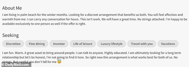 Uchitel, 45, has a profile on sugar daddy website Seeking Arrangement where she touts herself under the strapline 'high class discretion'
