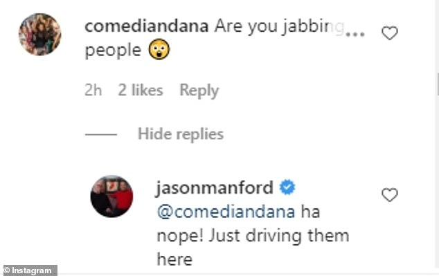 What's going on? In the comments Jason clarified he was driving people to get their vaccinations and wasn't actually giving the jab himself