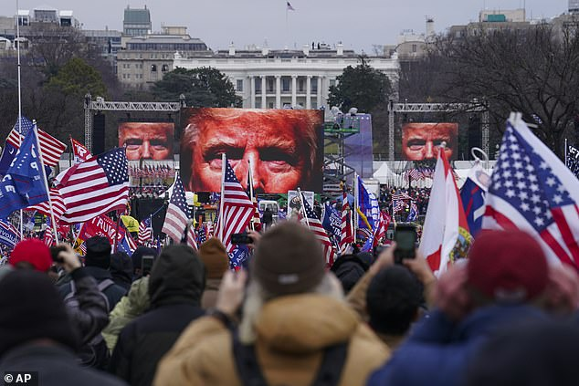 Pictured: Supporters of President Donald Trump participate in a rally in Washington hours before the Capitol building was stormed at the other end of the National Mall. GPS coordinates of Parler posts show a number of users were in the crowd outside the White House
