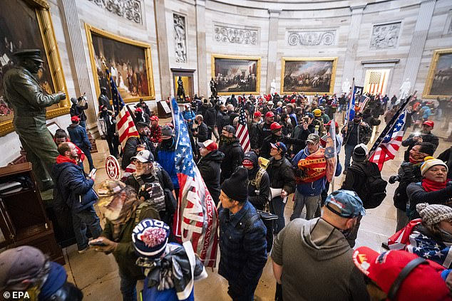 GPS tracking data obtained through a hack of the suspended Parler shows that many users of the social media app stormed into the US Capitol Building, reports say. Pictured:Supporters of US President Donald J. Trump fill the Capitol's rotunda on January 6