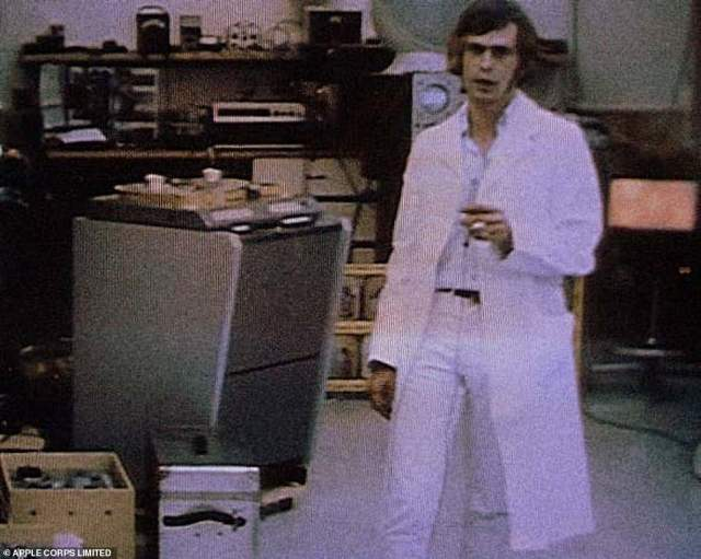 Mardas appearing in a short promo video for Apple Electronics. The subsidiary had plans to patent devices, sell them in shops around the world and use the profits for social good