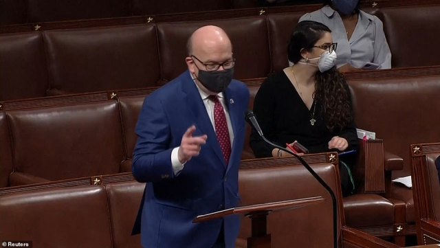 'We are debating this resolution at an actual crime scene and we wouldn't be here if not for the president of the United States,' said Massachusetts Democratic Rep. Jim McGovern