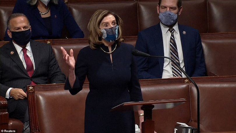 House Speaker Nancy Pelosi opened Wednesday afternoon's session and said President Donald Trump represented a 'clear and present danger'