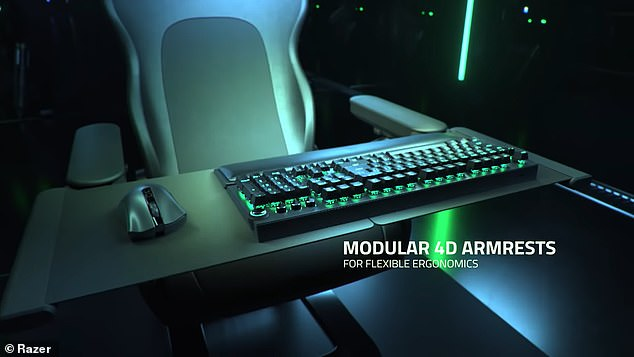 The gaming chair features built-in haptics to immerse users in the video game, along with modular 4D armrests