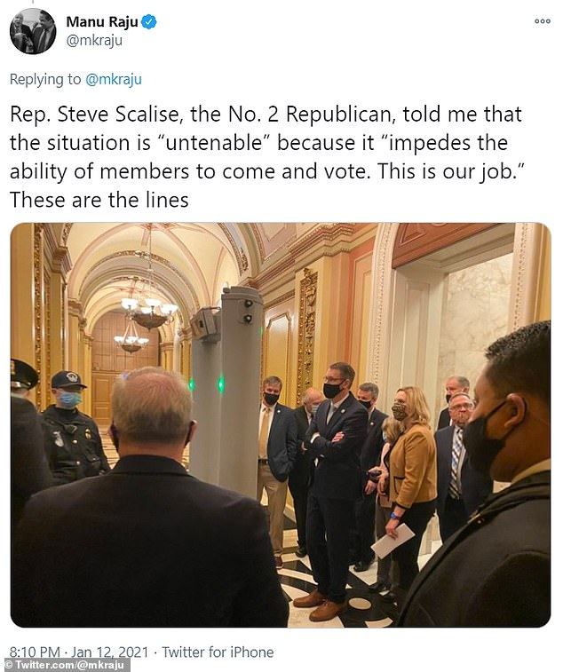 There were long lines of lawmakers to get through security and onto the House floor