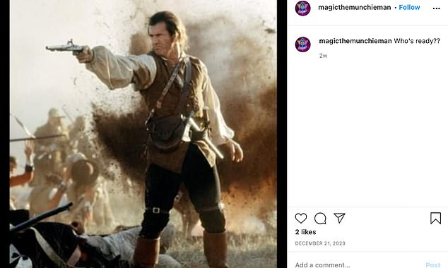 Watson's social media accounts, which have since been deactivated, show several pro-Trump content, including one which shows an image of Mel Gibson from the 2000 movie The Patriot. Gibson plays a character who joins a colonial militia to fight the British during the American Revolution