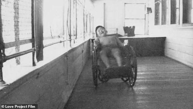 Tough times: Morita seen in a wheelchair as a child