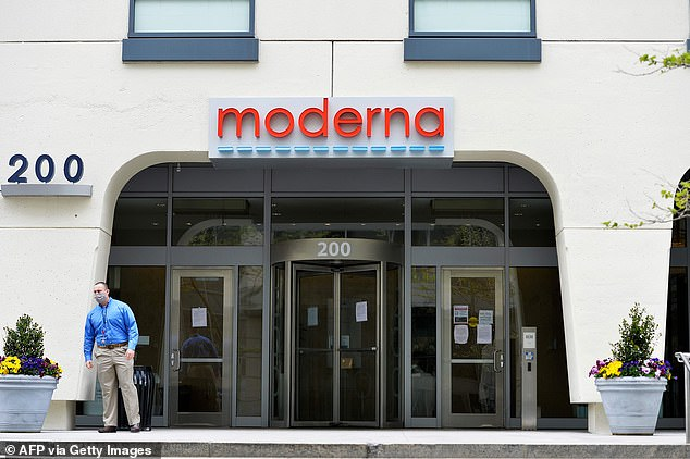 Bancel added that he believes the firm's vaccine is protective against the new variants from the UK, South Africa and Brazil. Pictured: Moderna headquarters in Cambridge, Massachusetts, May 2020