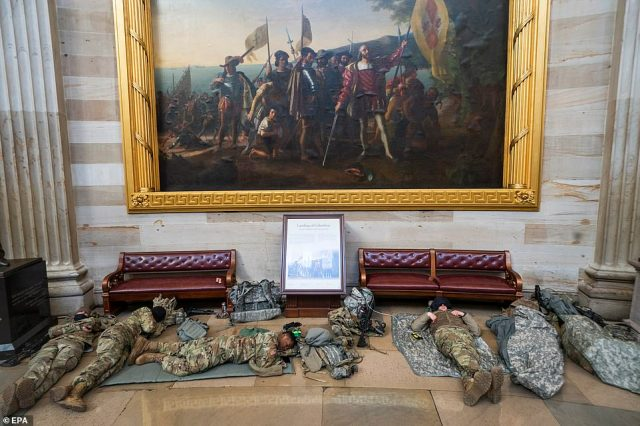 The troops could be seen spreading out inside the Rotunda of the US Capitol on Wednesday morning