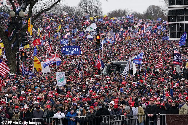 Supporters listen as US President Donald Trump speaks on The Ellipse outside of the White House January 6, 2021, in Washington, DC.