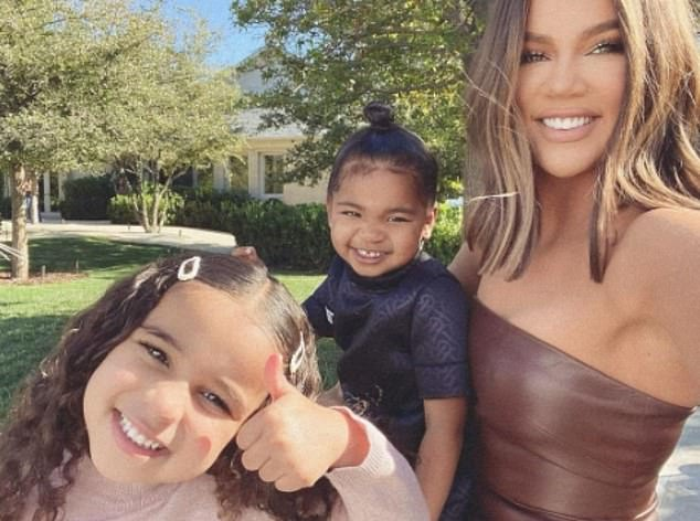 Family love: Rob's closest sister Khloe commented 'Dreamy!!!!!' as she expressed her love for her niece; pictured Friday