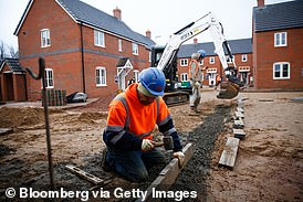 Profit building: Workers on a Persimmon site. The firm has a record order book
