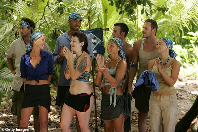 Memorable: The former reality TV contestant, who was born and raised in Wisconsin, was diagnosed with a rare form of colon cancer in November 2017, according to a GoFundMe created by her nine-year-old husband, Steven Calandra (pictured from the second episode of Survivor: Palau in 2005)