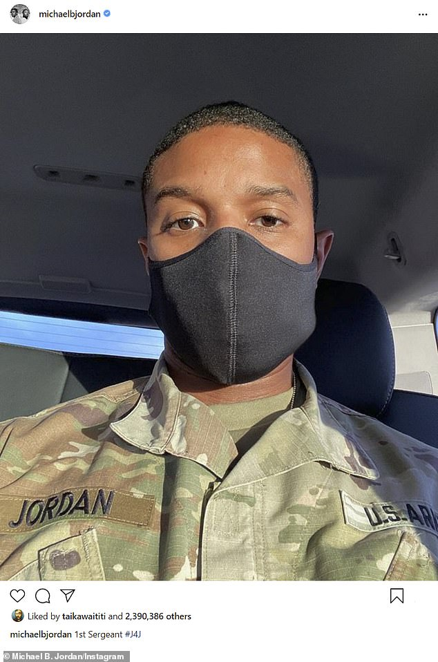 '1st Sergeant # J4J': Michael worked hard to film actor-turned-director Denzel Washington's absentee dad drama, Oscar winner Journal for Jordan for Sony Pictures (pictured December 11)