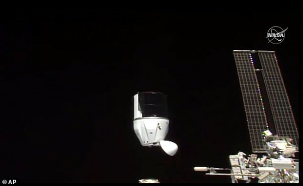 This photo provided by NASA shows SpaceX's Dragon undocking from the International Space Station on Tuesday, January 12, 2021