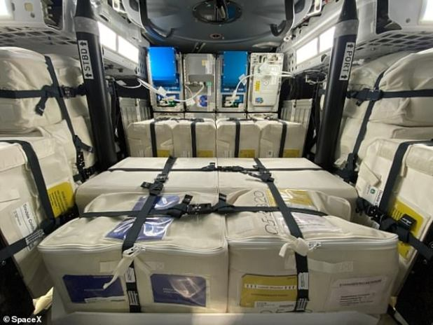 This image shows some of the cargo that was loaded onto the dragon ship since it first arrived on the ISS last year.  It can hold more in the freezer than the original dragon