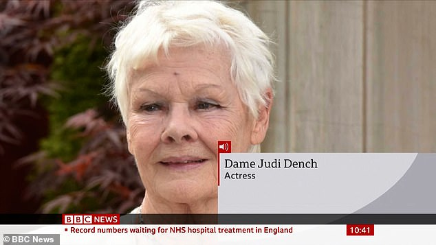 Interview: In a telephone interview on BBC News Thursday, Dench did not say whether she had been vaccinated against Pfizer / BioNTech or Oxford University / AstraZeneca against the coronavirus