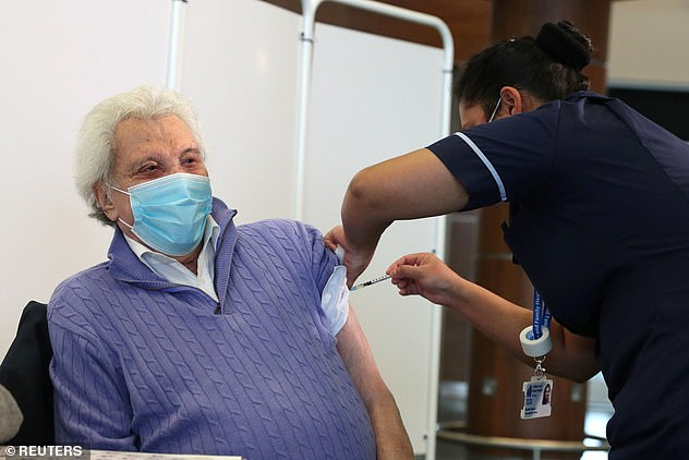 Injected: Veteran star Lionel Blair, 92, also received the first of two COVID vaccines