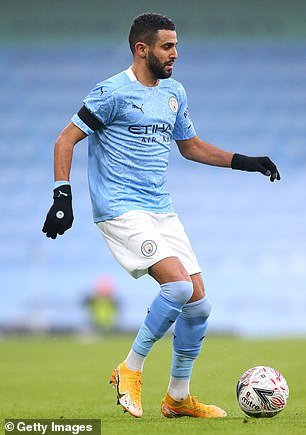 Despite the Covid-19 lockdown closing salons up and down the country, many Premier League stars, including Paul Pogba and Mason Holgate, have continued to show off their fresh hairstyles which look surprisingly professional at recent games (pictured, Riyad Mahrez on January 10)