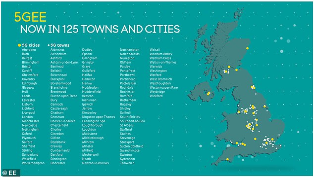 EE's 5G network is now available in 125 towns and cities across the UK, including London, Edinburgh and Glasgow